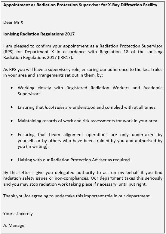 Example of a Radiation Protection Supervisor (RPS) appointment letter