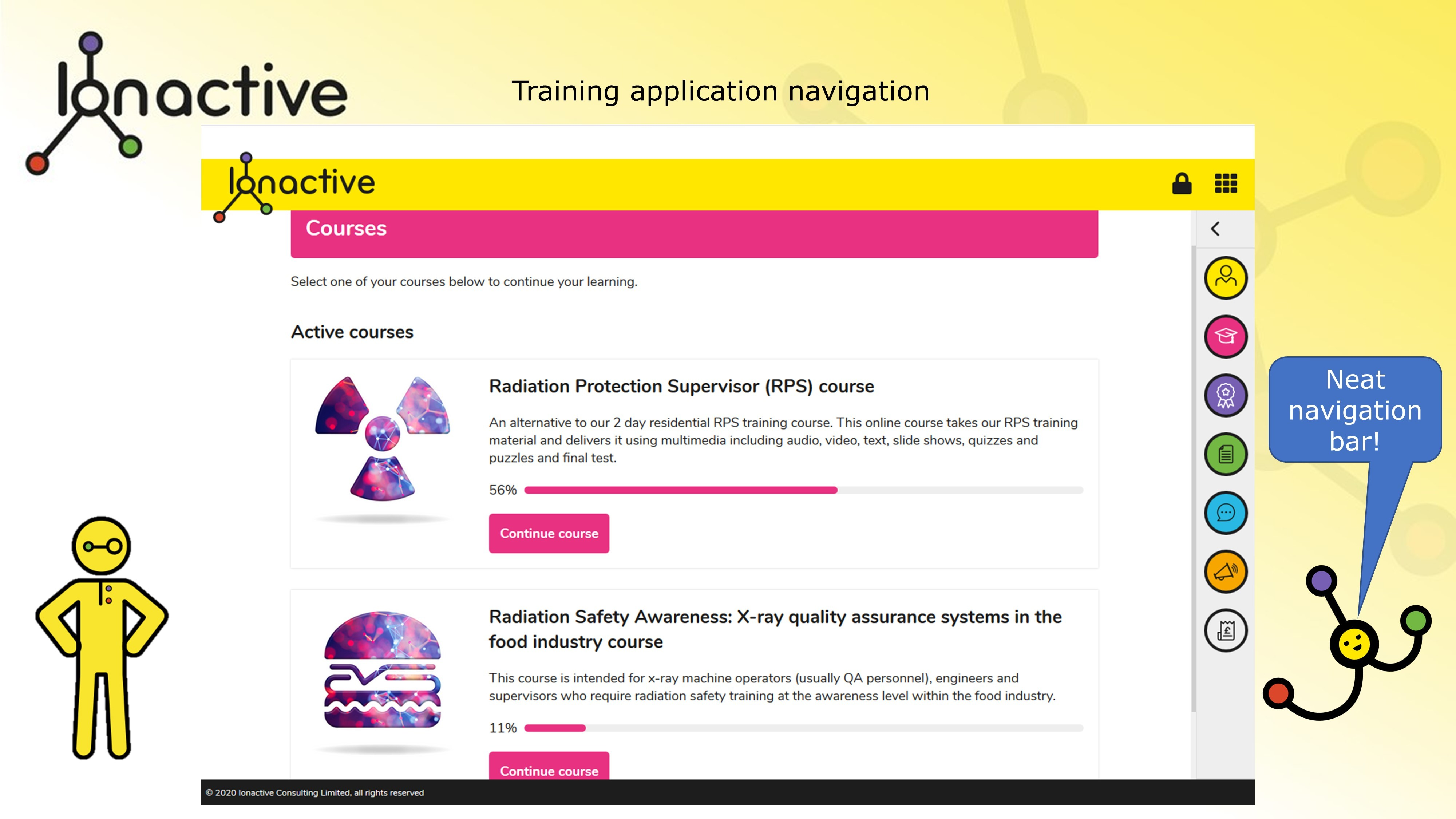 Training application navigation